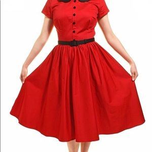 "Pinup Couture Peter Pan ""DeeDee Collar Dress Red L"